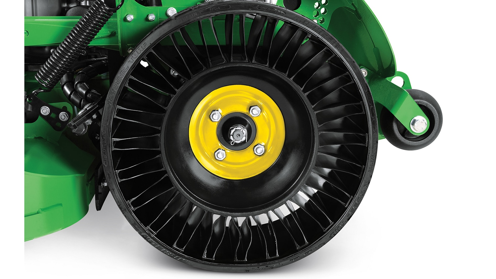 The MICHELIN X TWEEL TURF Airless Radial Tire eliminates flats