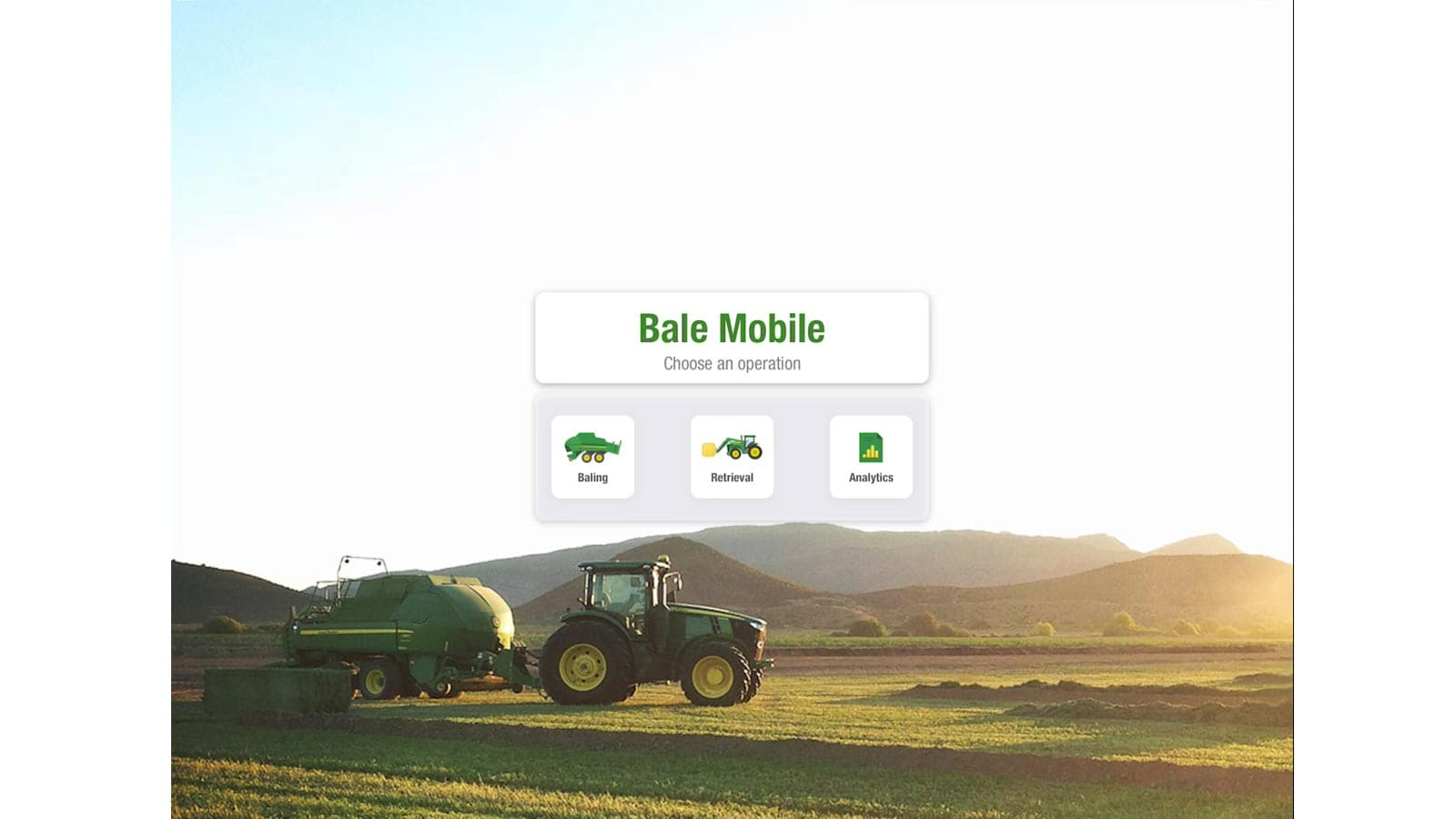 The startup window for the Bale Mobile App