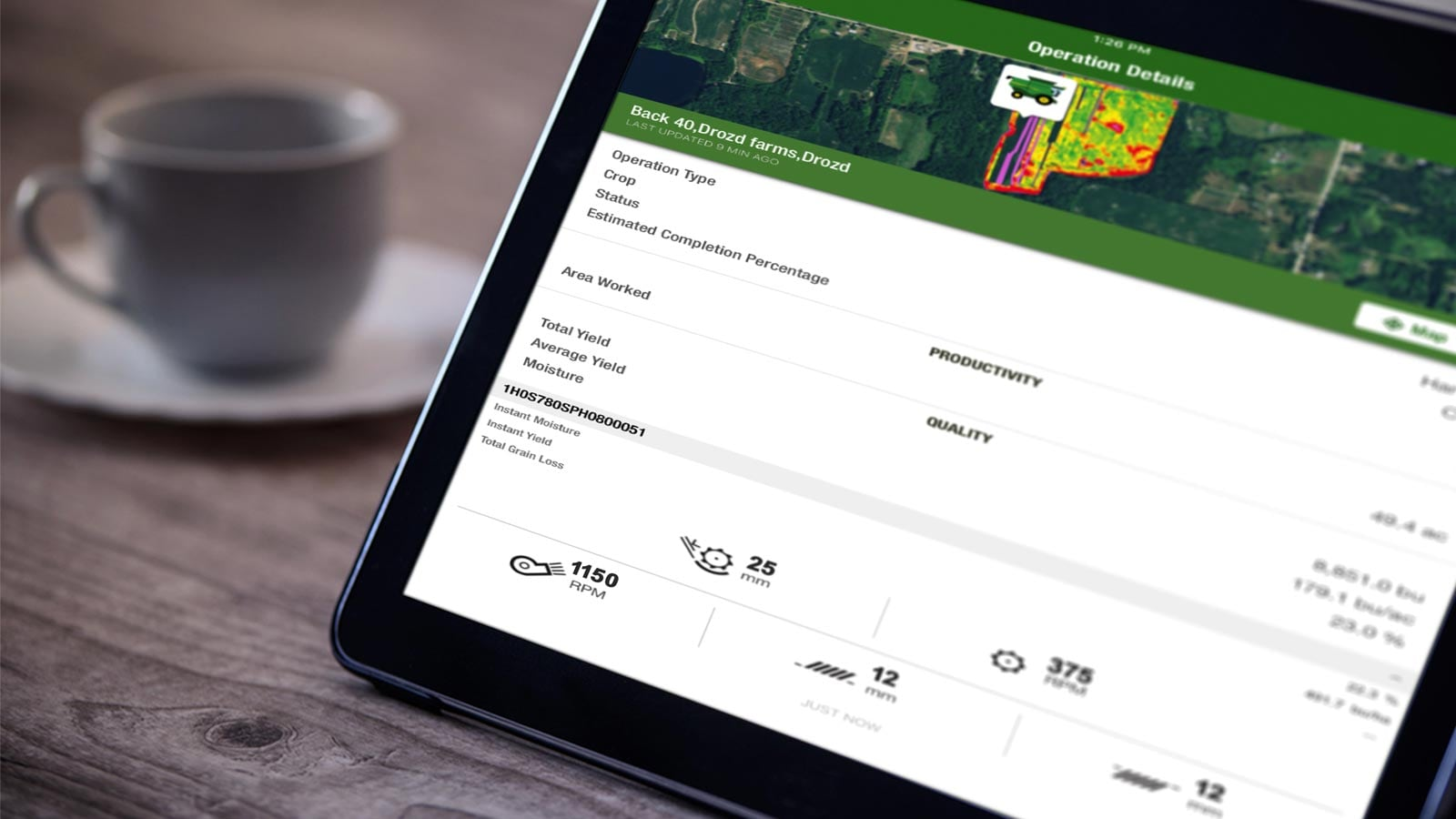 The MyOperations mobile app displayed on a tablet