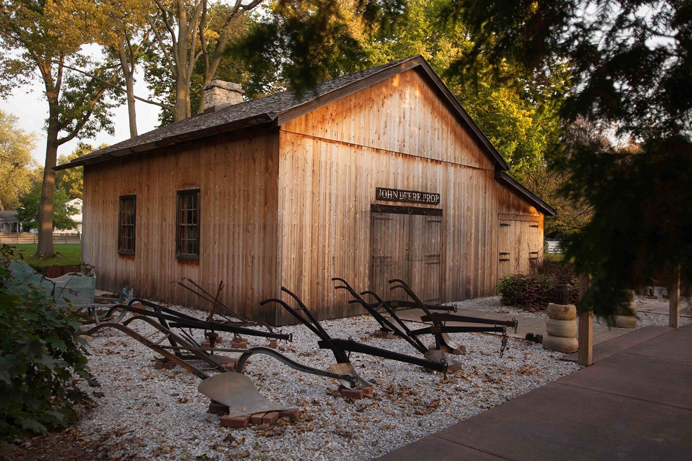Outside view of the blacksmith shop at the John Deere Historic Site.