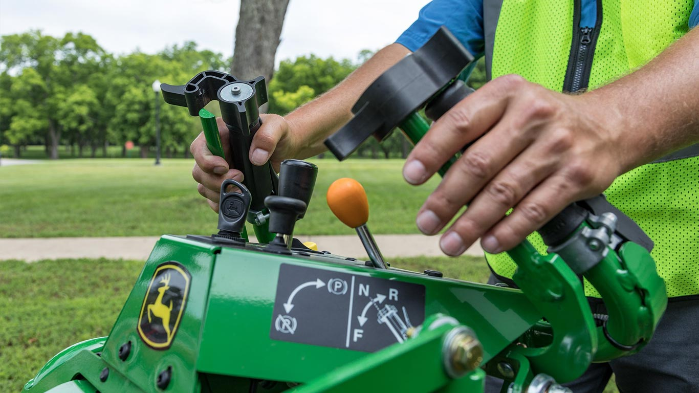 Closeup of the new walk behind mower controls
