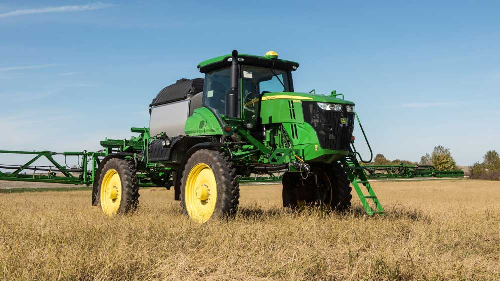 A John Deere sprayer in the field