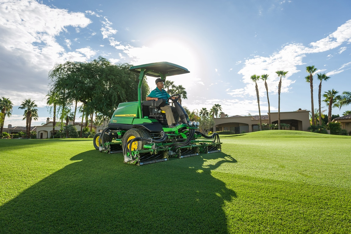 John Deere 8900A mower on a fairway