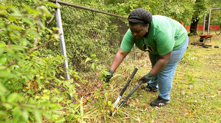 Woman wearing green John Deere shirt uses clippers to remove weeds from fenceline.