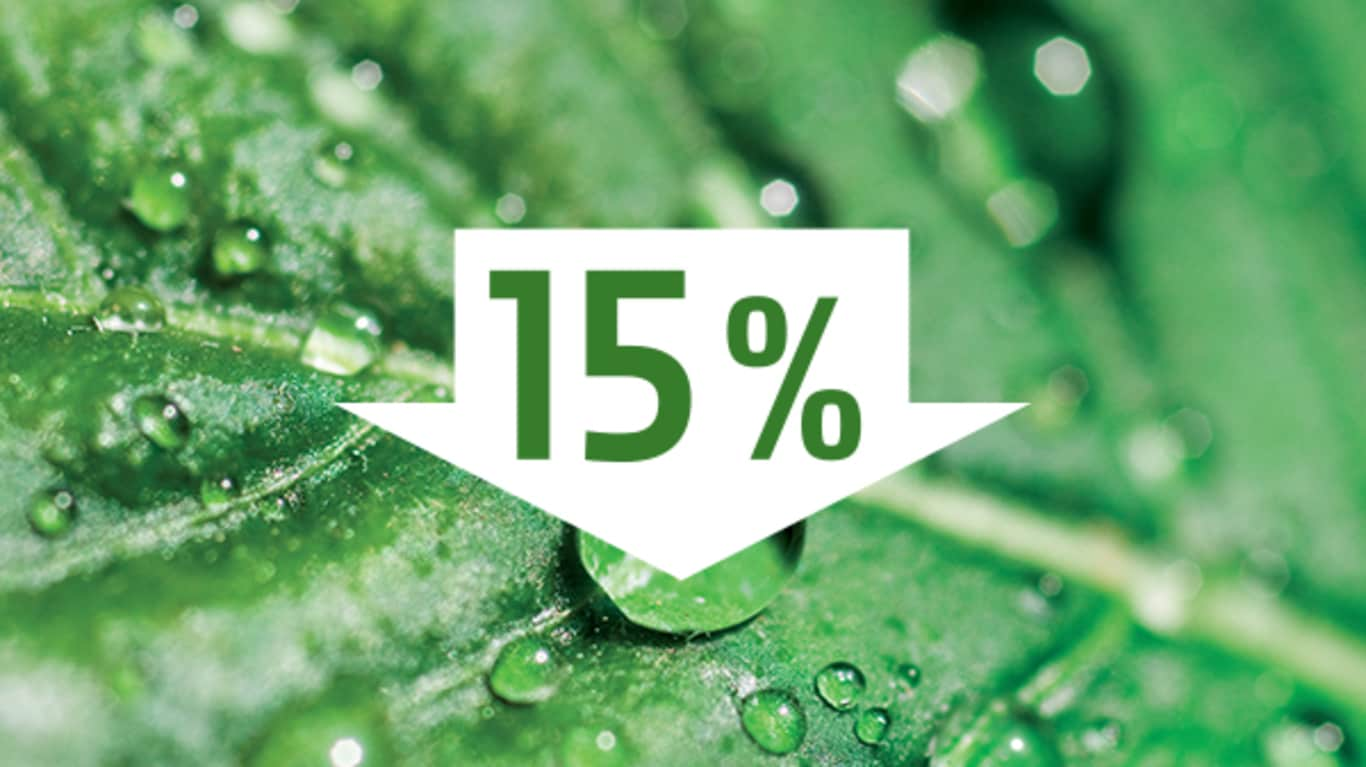 Image of a green leaf with water droplets on it, and a white down arrow with 15% inside in the foreground