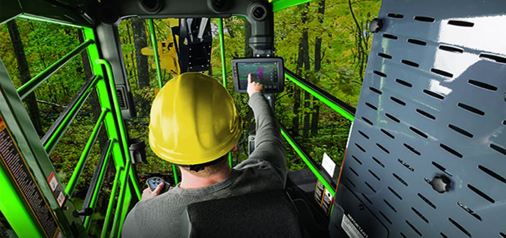 inside-the-cab view from a forestry virtual reality simulator