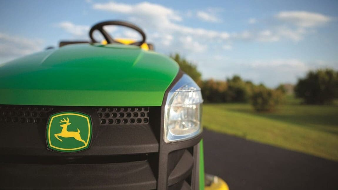 Closeup of a John Deere lawn mower