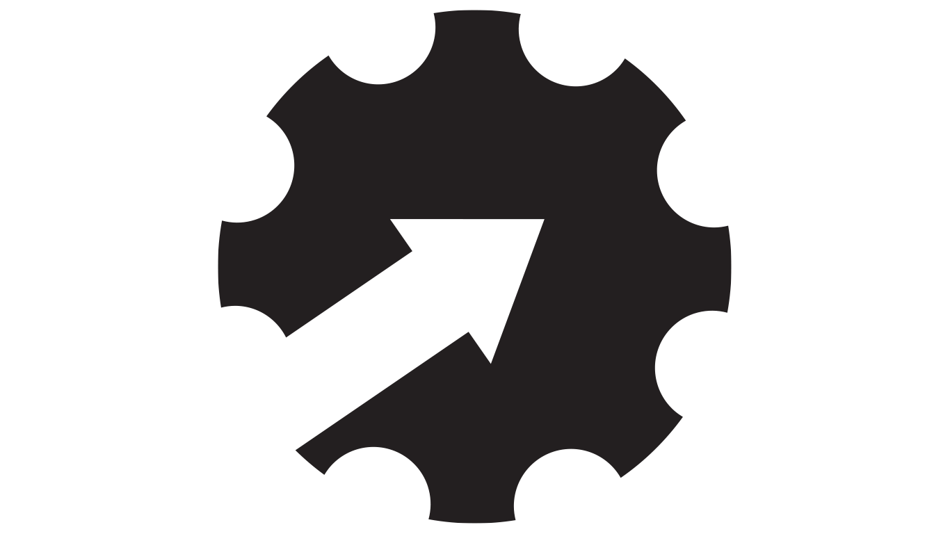 Gear icon with arrow through the middle
