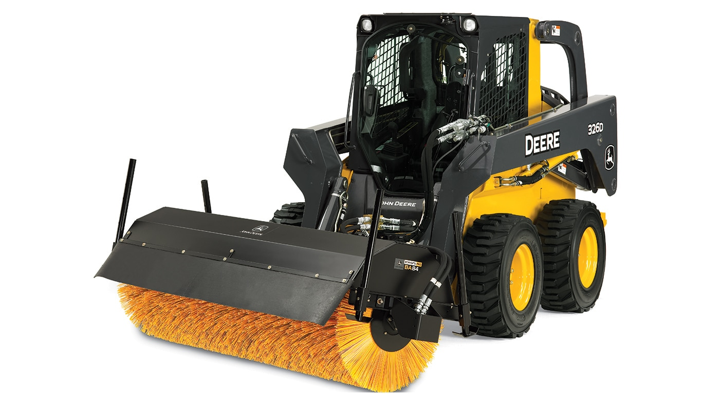 angle broom attachment on skid steer