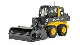 320G Skid Steer with BA96C Angle Broom attachment on white background