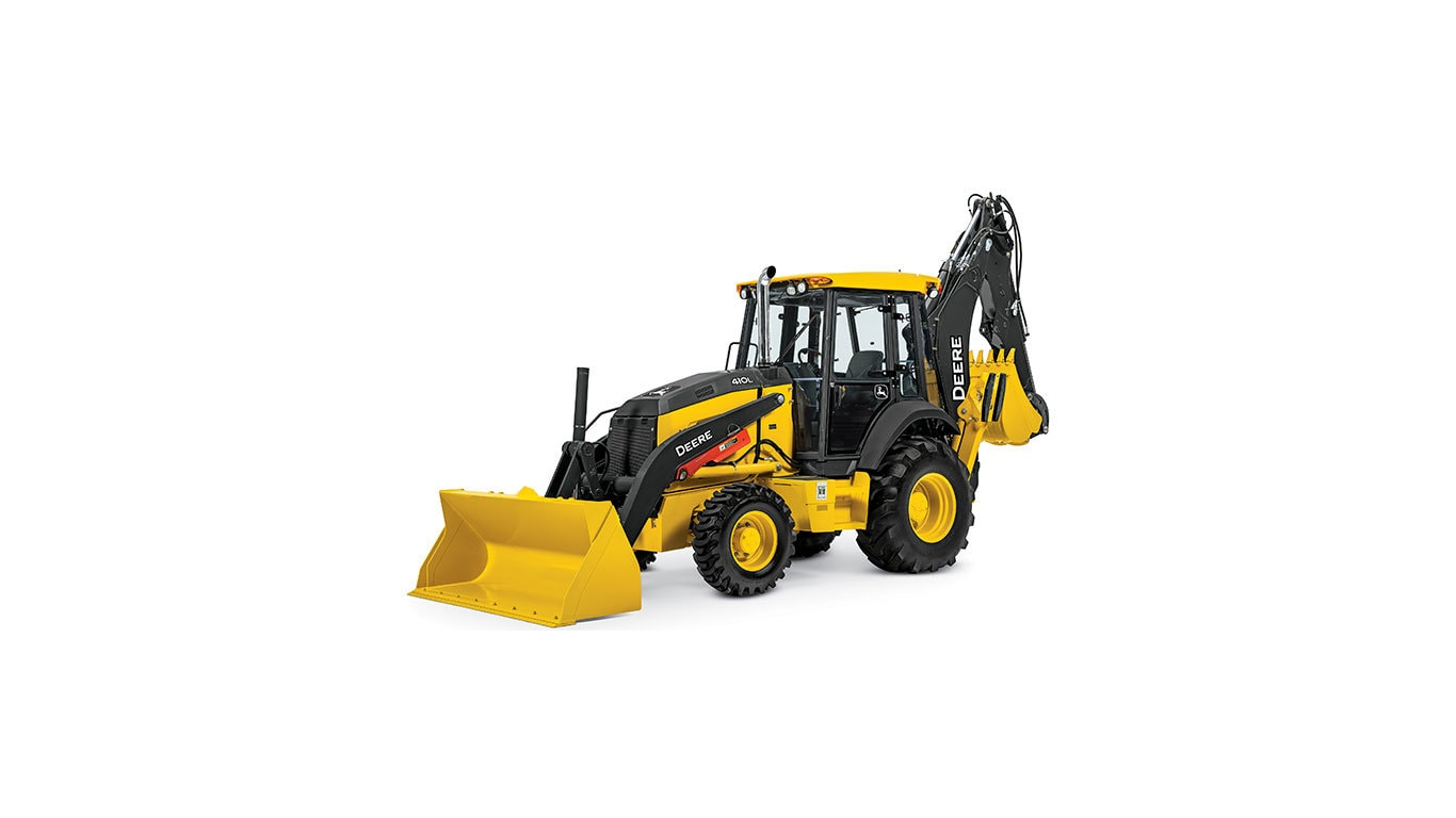 410L Backhoe Loader with white background
