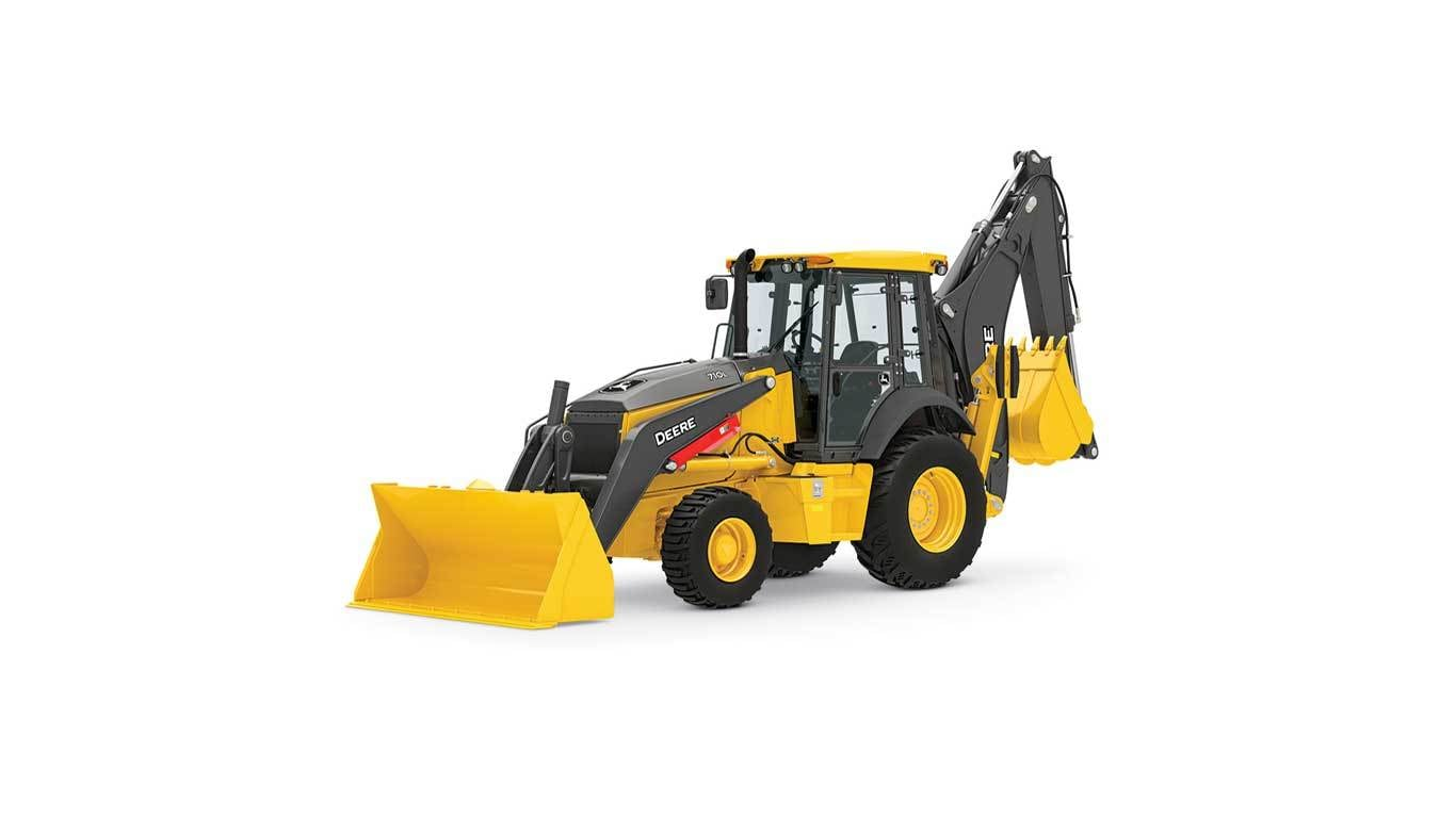 710L Backhoe loader studio model on a white background