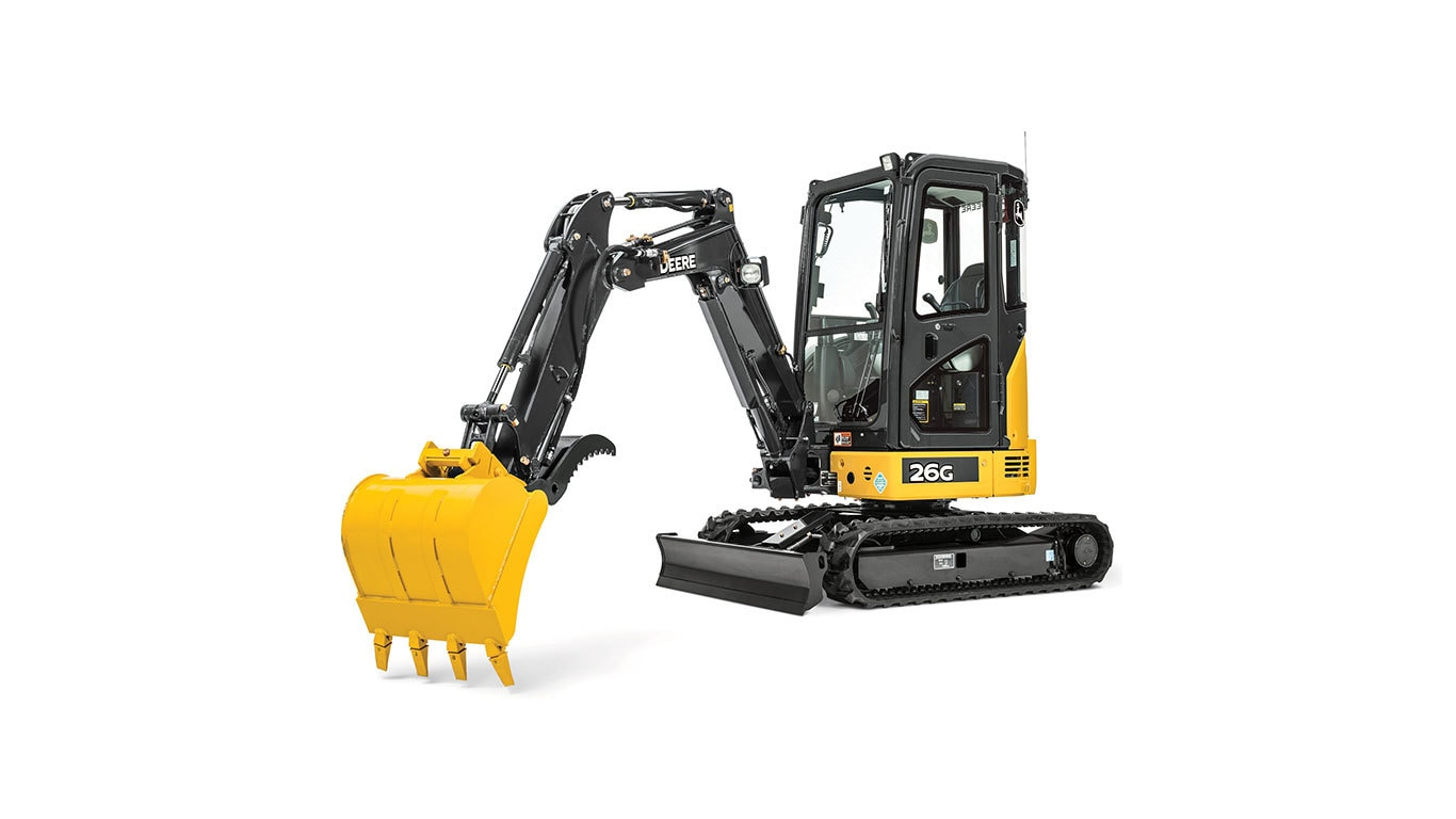26G Compact Excavator with white background.