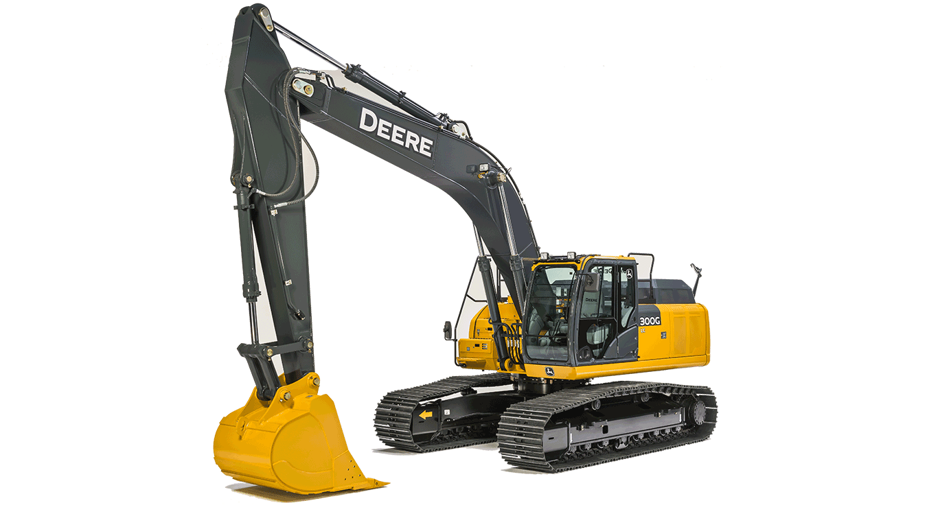 300G LC Mid-Size Excavator on a white background