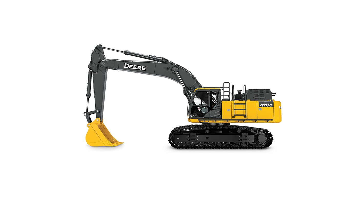470G LC Large Excavator on white background
