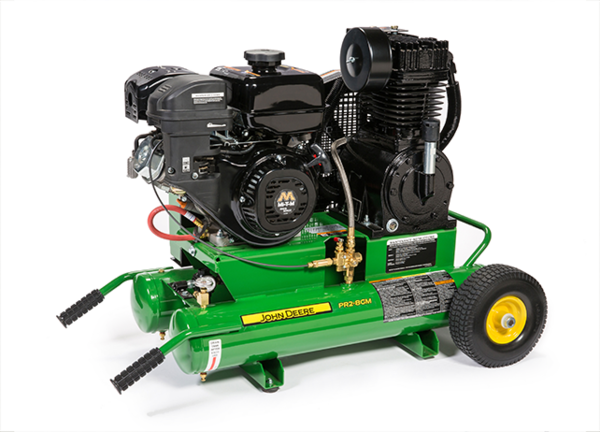 gas powered air compressor for service truck. pr2-8gm 300cc two-stage industrial mi-t-m ohv engine gas powered air compressor for service truck