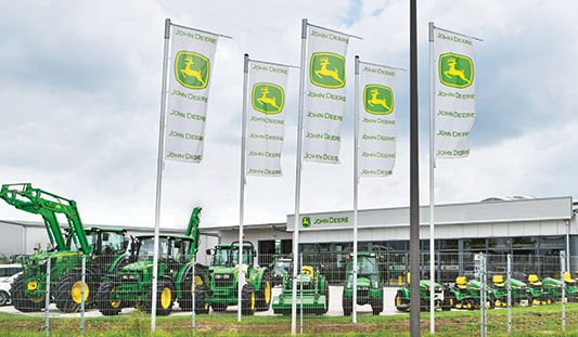 A John Deere dealer sign