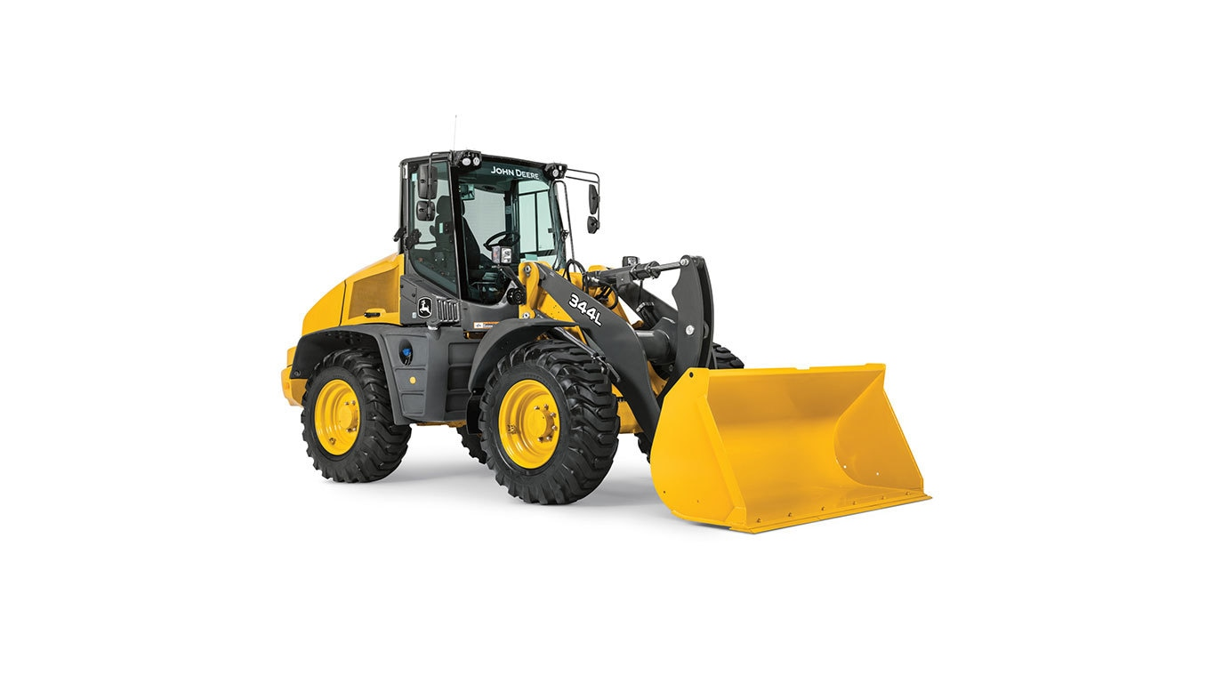 344L Compact Wheel Loader with white background.