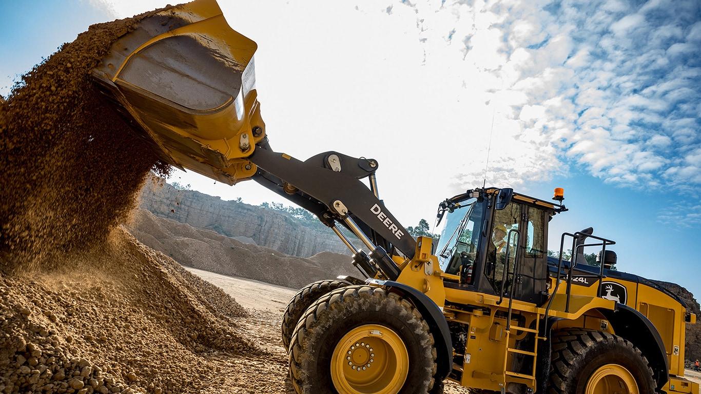 824L John Deere Large Wheel Loader moving dirt at a work site