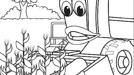 corey combine harvests the corn - John Deere Combine Coloring Pages