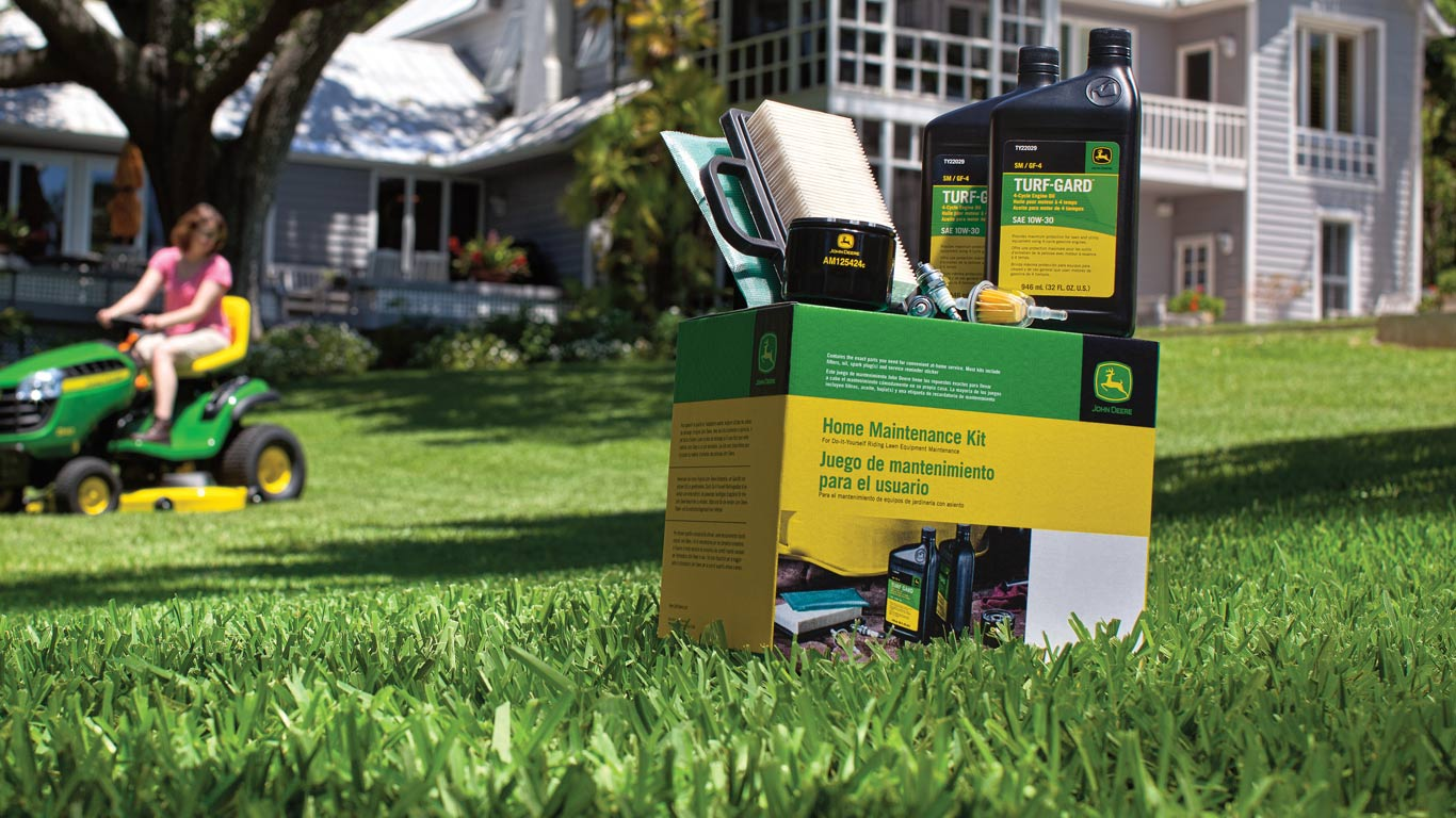Close up view of Home Maintenance Kit on residential lawn