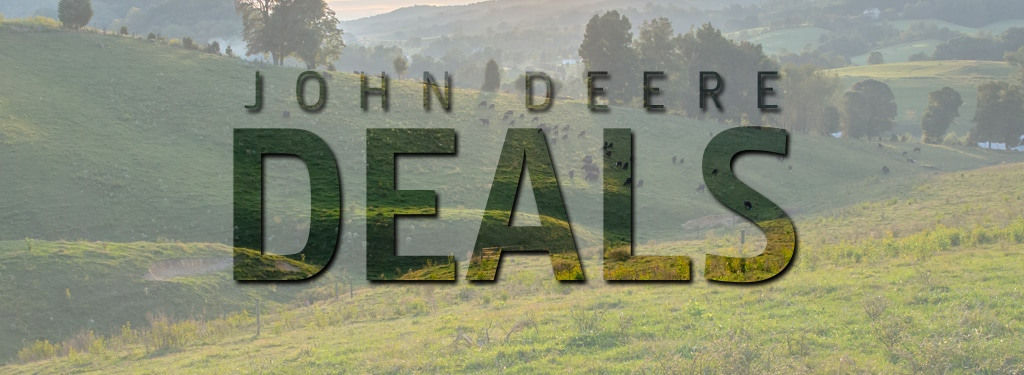"The words ""John Deere Deals"" on a background image of a pasture"