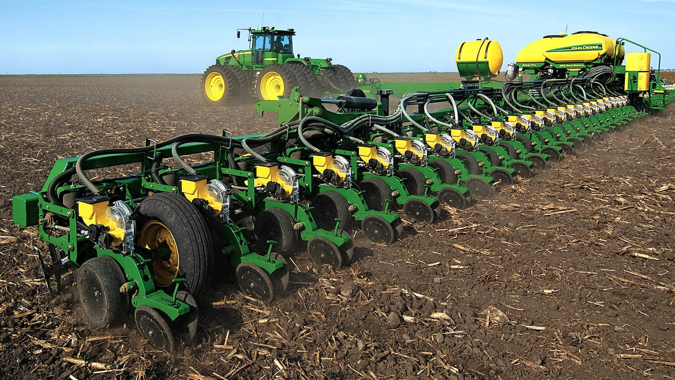 Planter moving through field