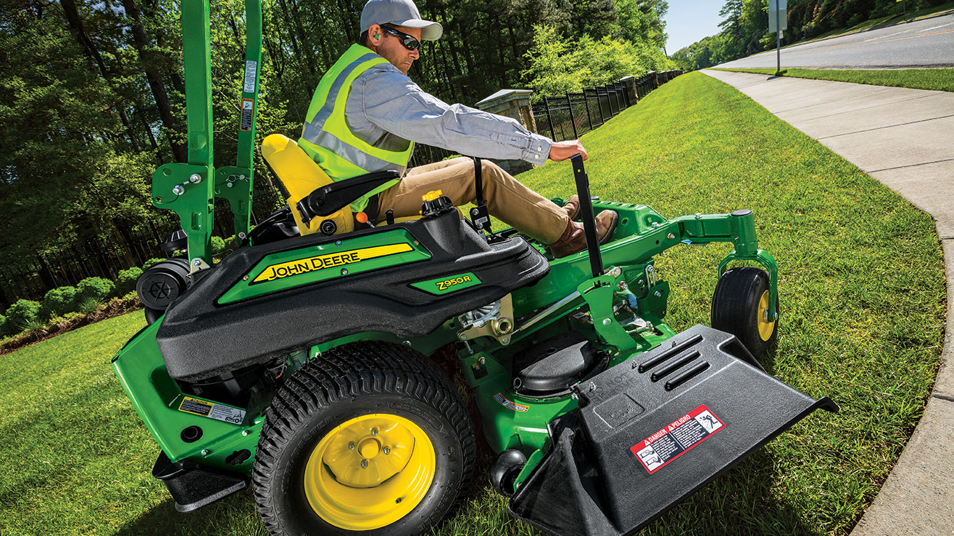 Turf manager on John Deere riding lawn mower