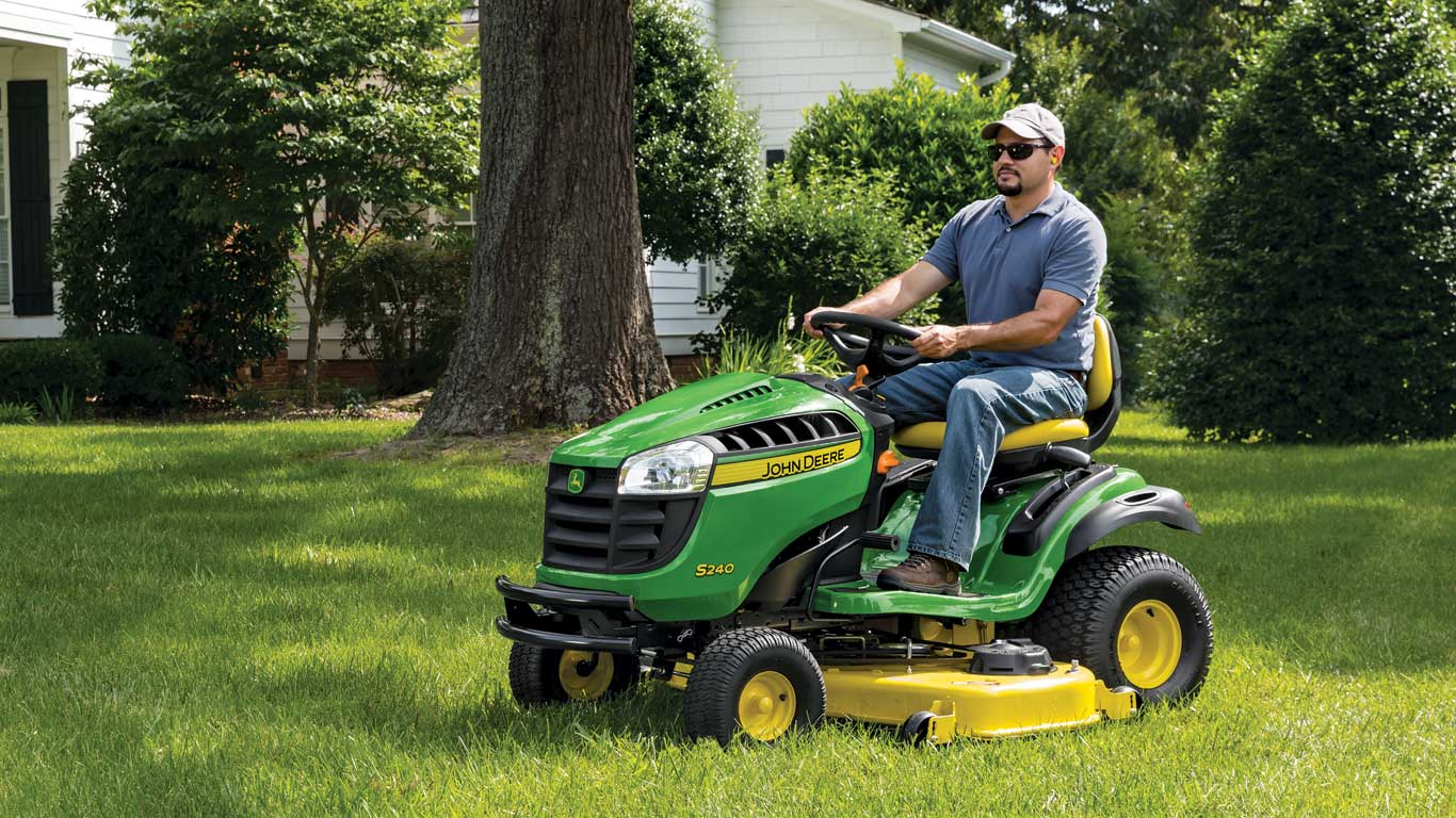 man on S240 lawn tractor