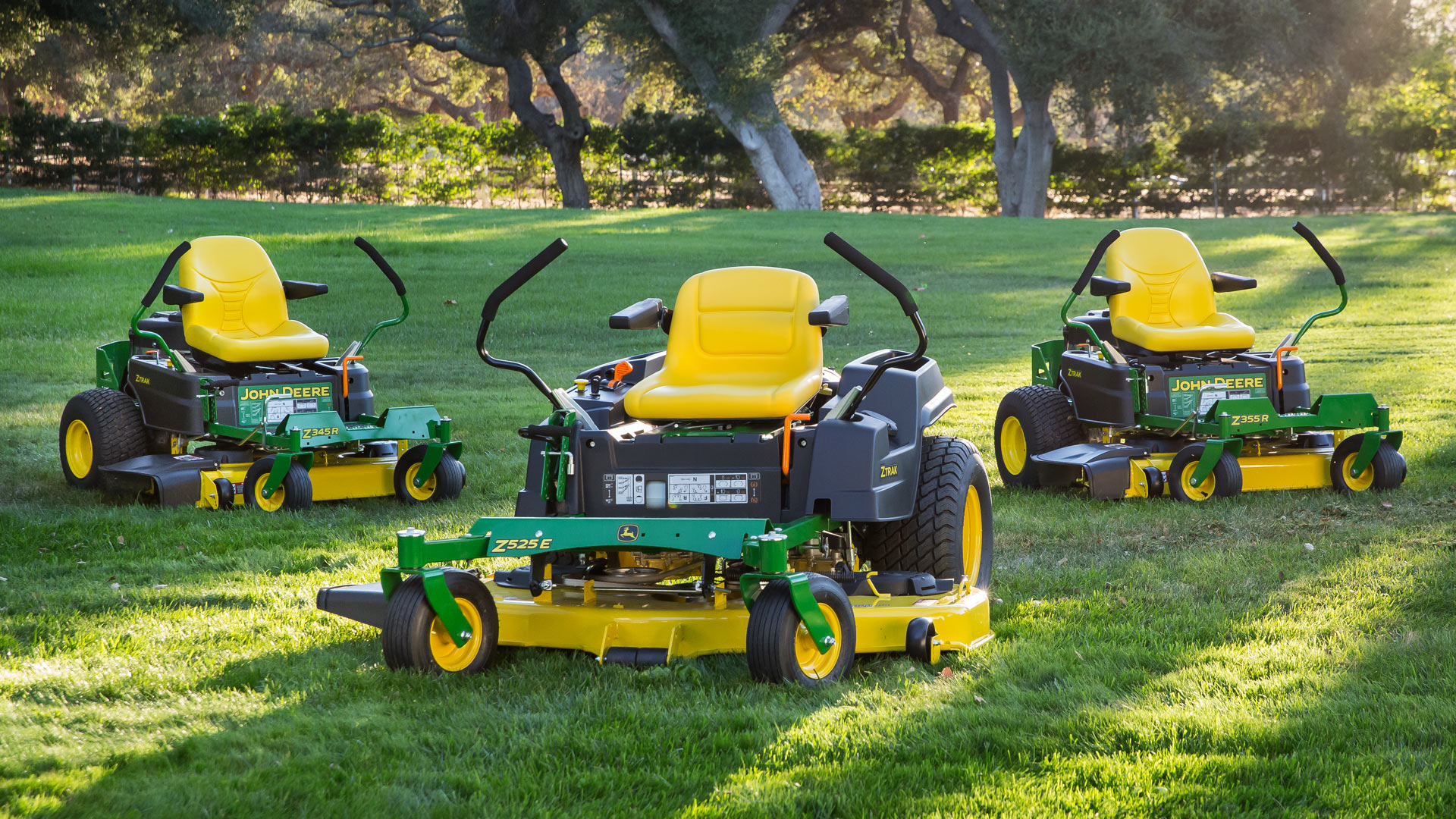 Photo of zero turn mower family on lawn