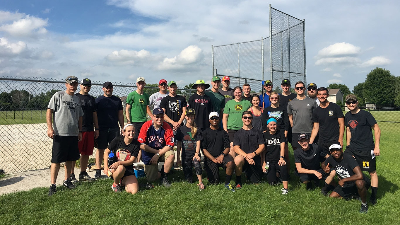 Des Moines Managers Versus Interns Softball Game