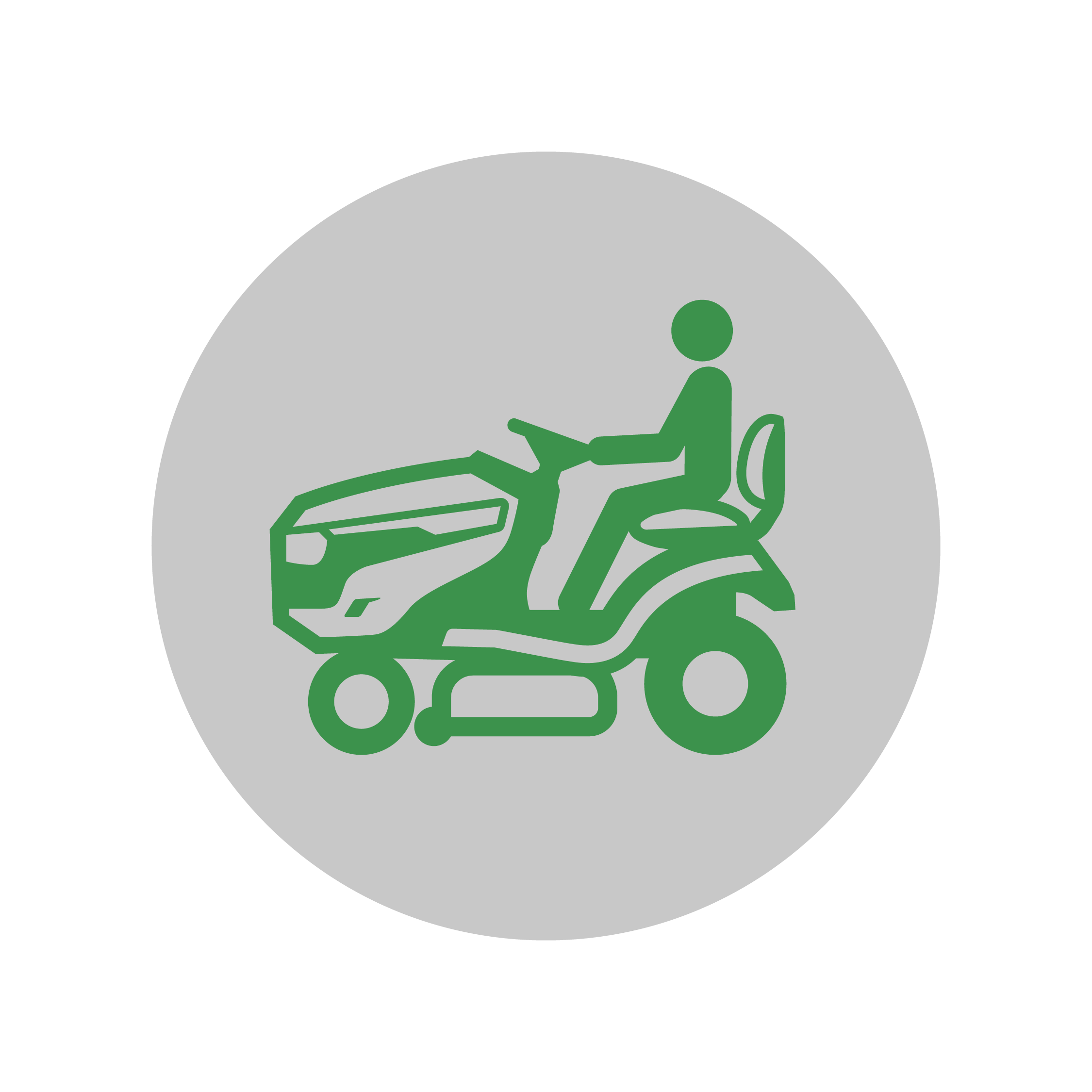 Graphic of a man riding a lawn mower