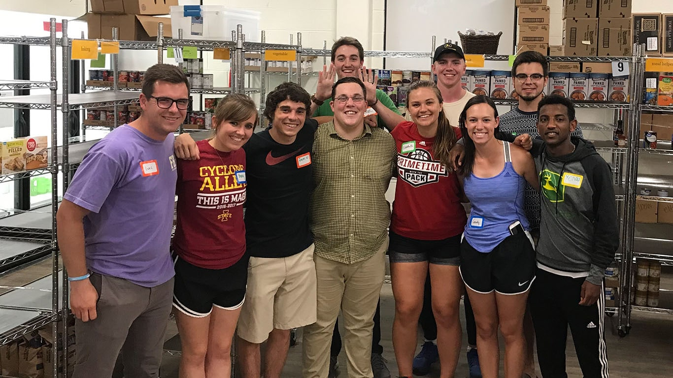 Interns volunteering at the River Bend Foodbank