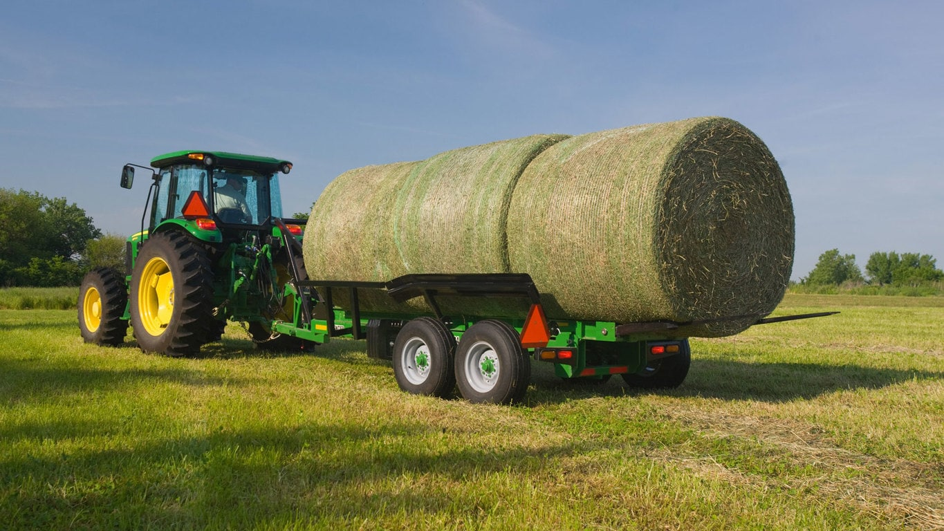 field image of Frontier™ BC11 bale carrier attached to a tractor