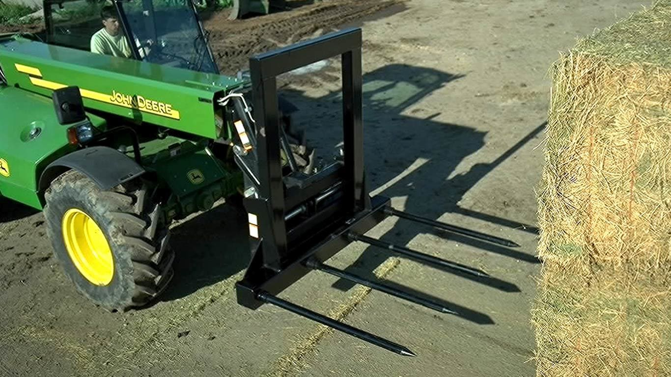 field image of a Frontier ab15 series bale spear on a tractor