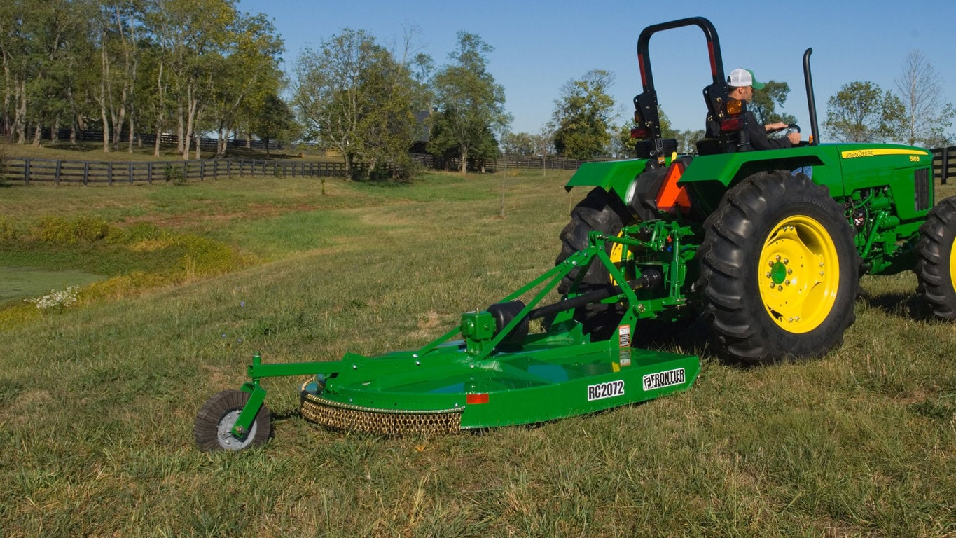 field image of Frontier rc2072 rotary cutter attached to a tractor