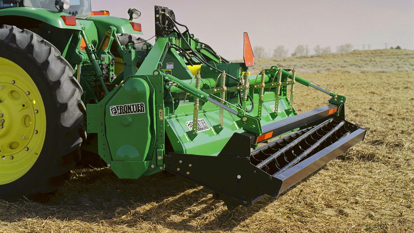 field image of Frontier™ rc13 rotary tiller attached to a tractor