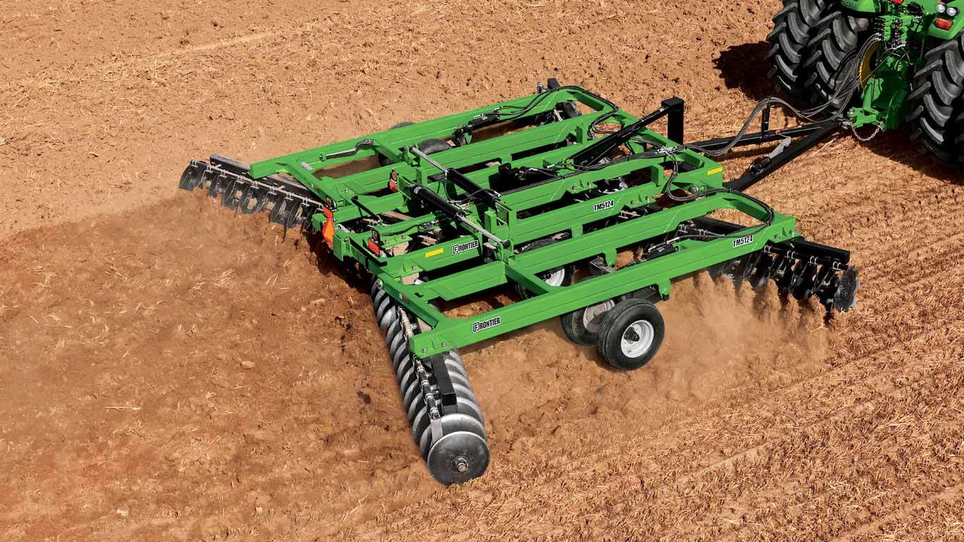 field image of Frontier TM51 series disk harrow on a tractor