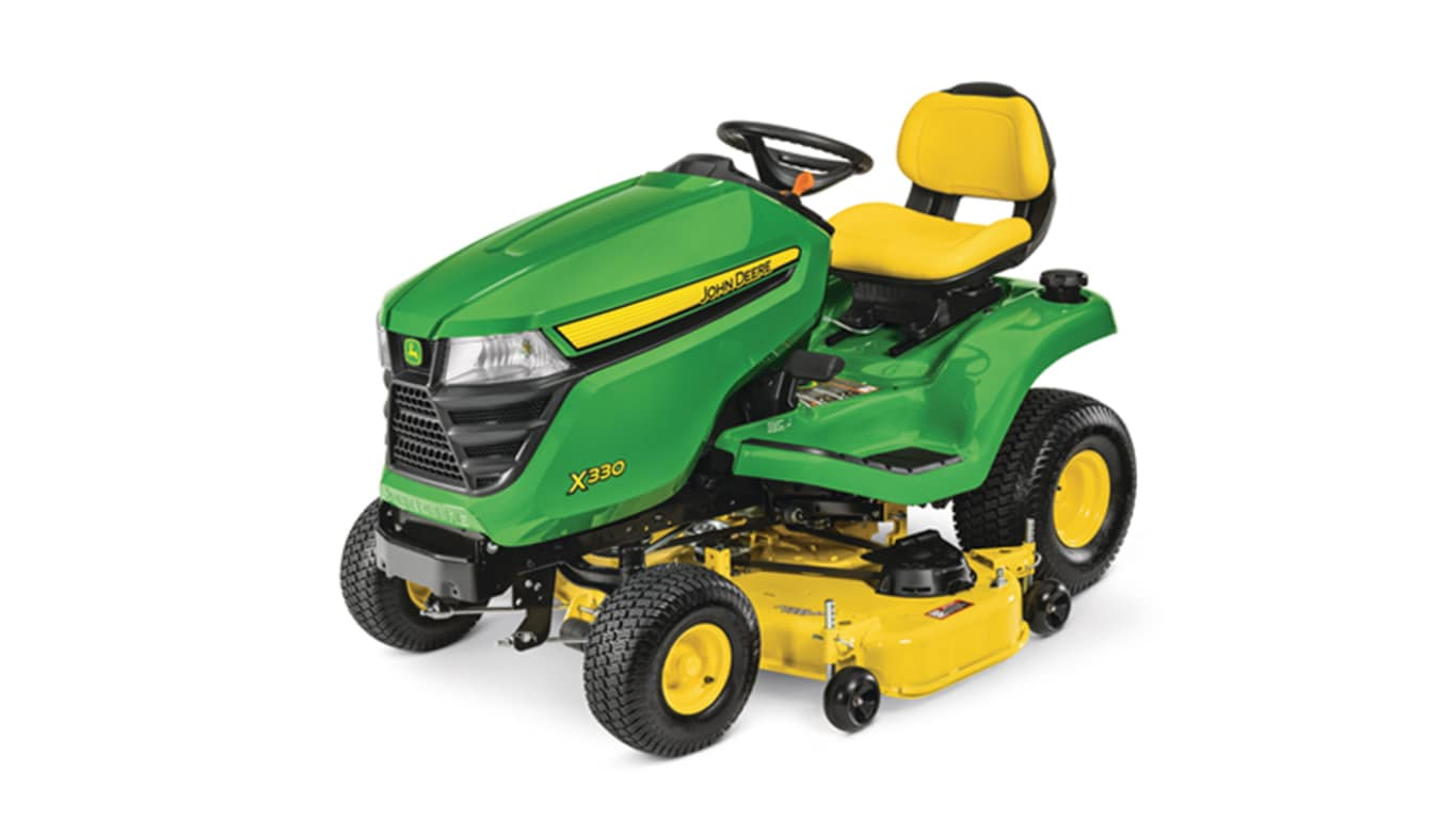 studio image of John Deere X330 lawn mower with a 48-in deck