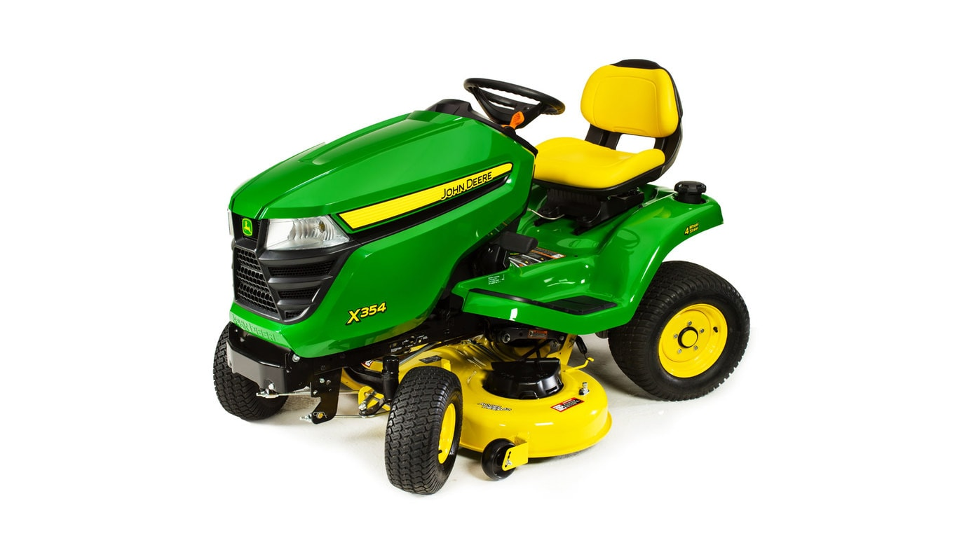Three-quarter view of X354 lawn tractor