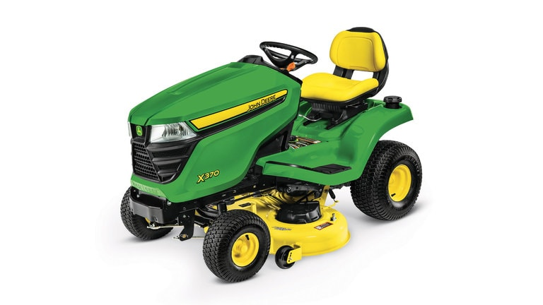 Three-quarter view of X370 lawn tractor