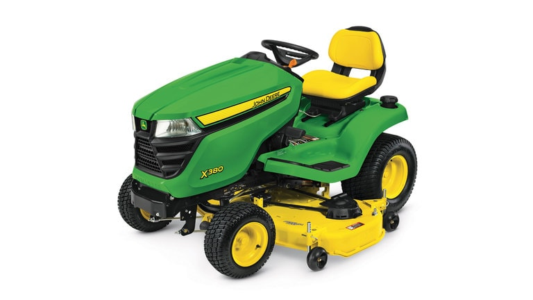 Three-quarter view of X380 lawn tractor with 48 inch deck