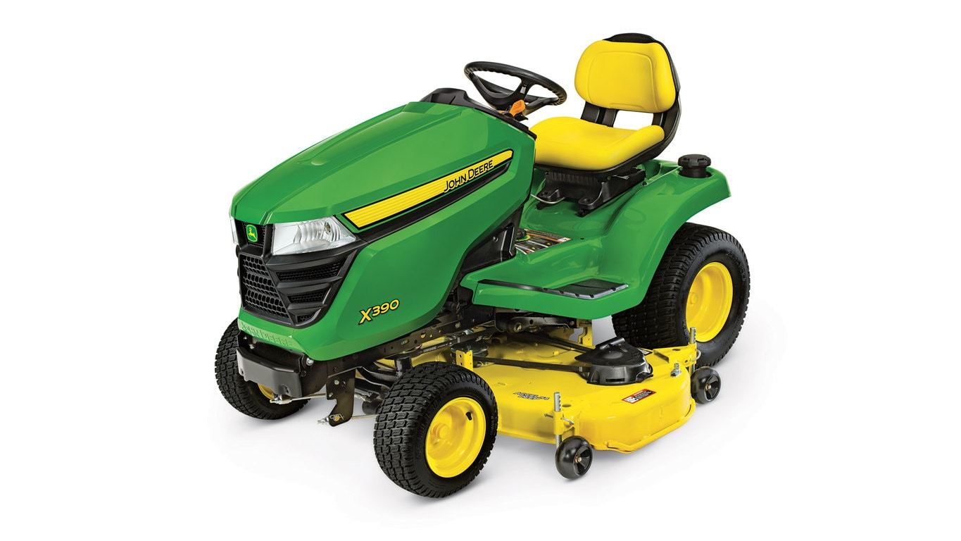 studio image of the X390 series lawn mower with 48-in deck