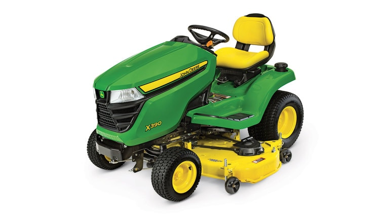 Three-quarter view of X390 lawn tractor with 48 inch deck