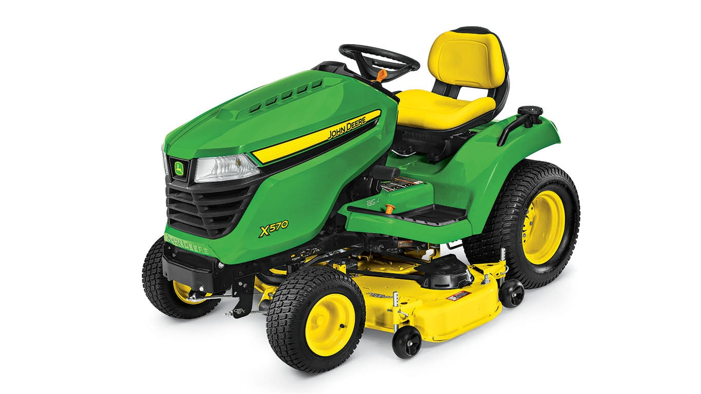Three-quarter view of X570 lawn tractor.