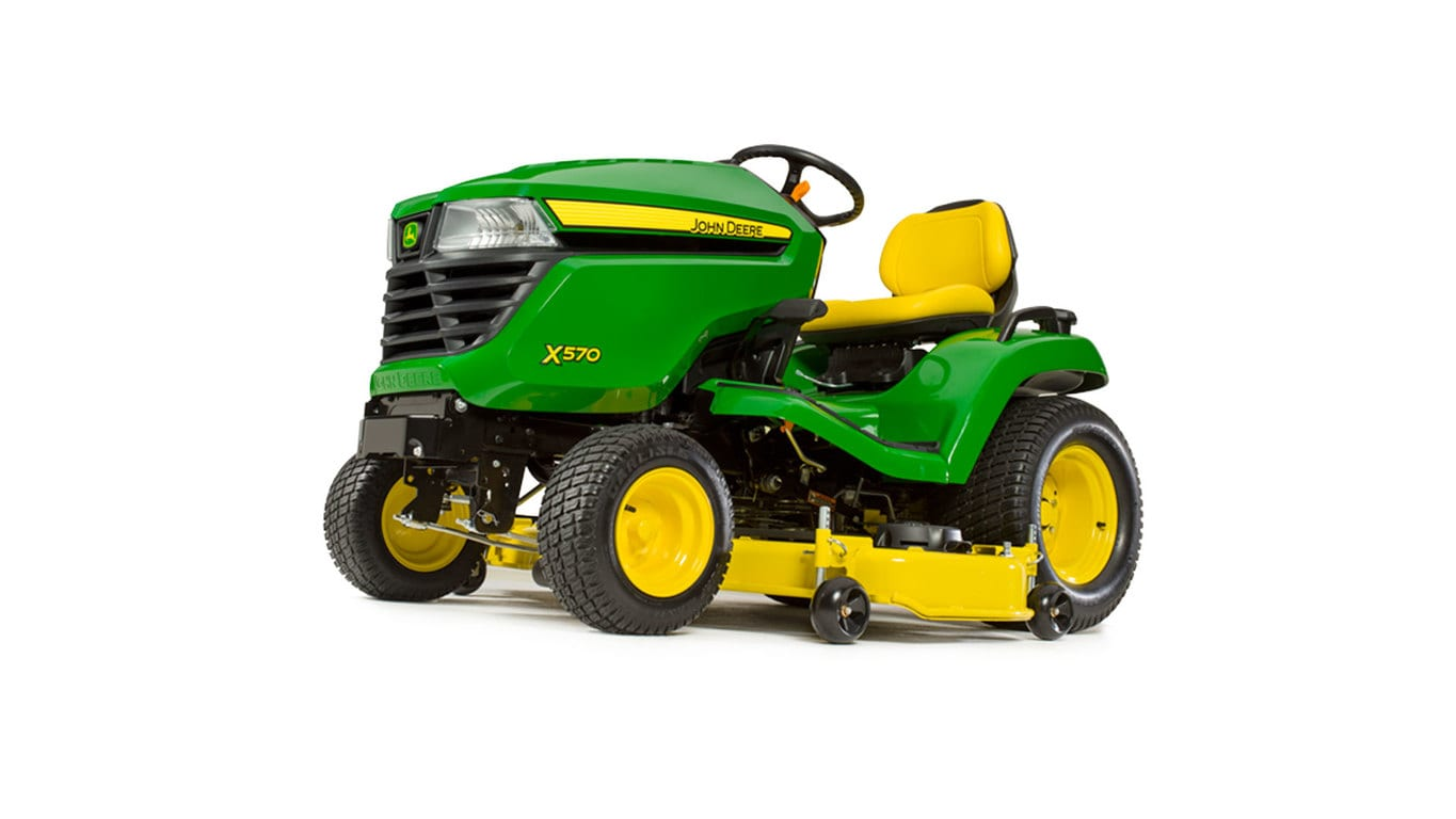 Three-quarter view of x570 lawn tractor with 54 inch deck