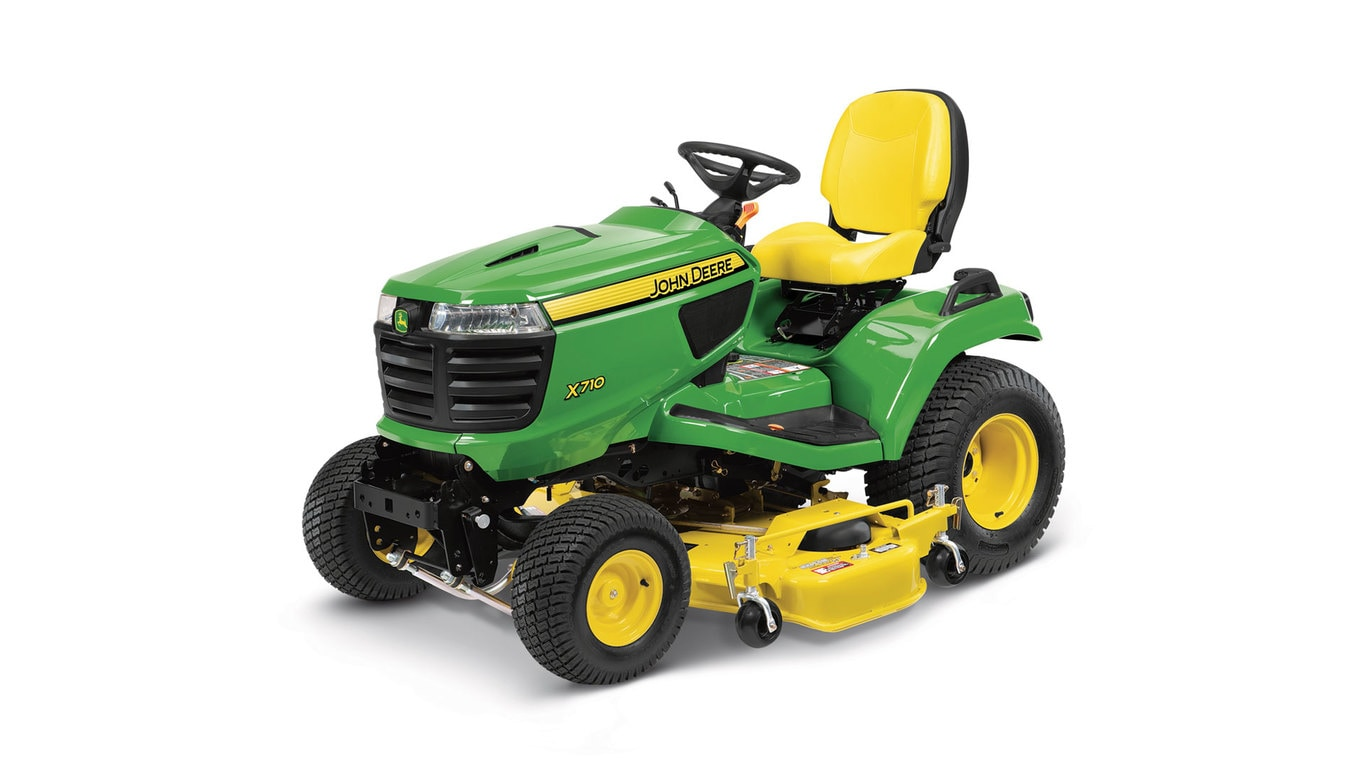 Three-quarter view of x710 lawn tractor