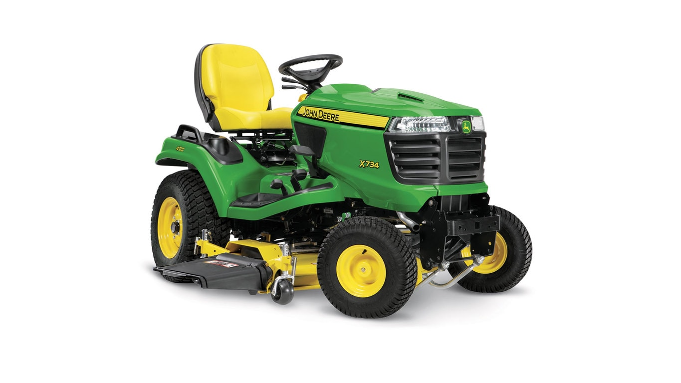 4 Wheel Steering Riding Mower X734 John Deere Us X475 Wiring Diagram Three Quarter View Of Lawn Tractor