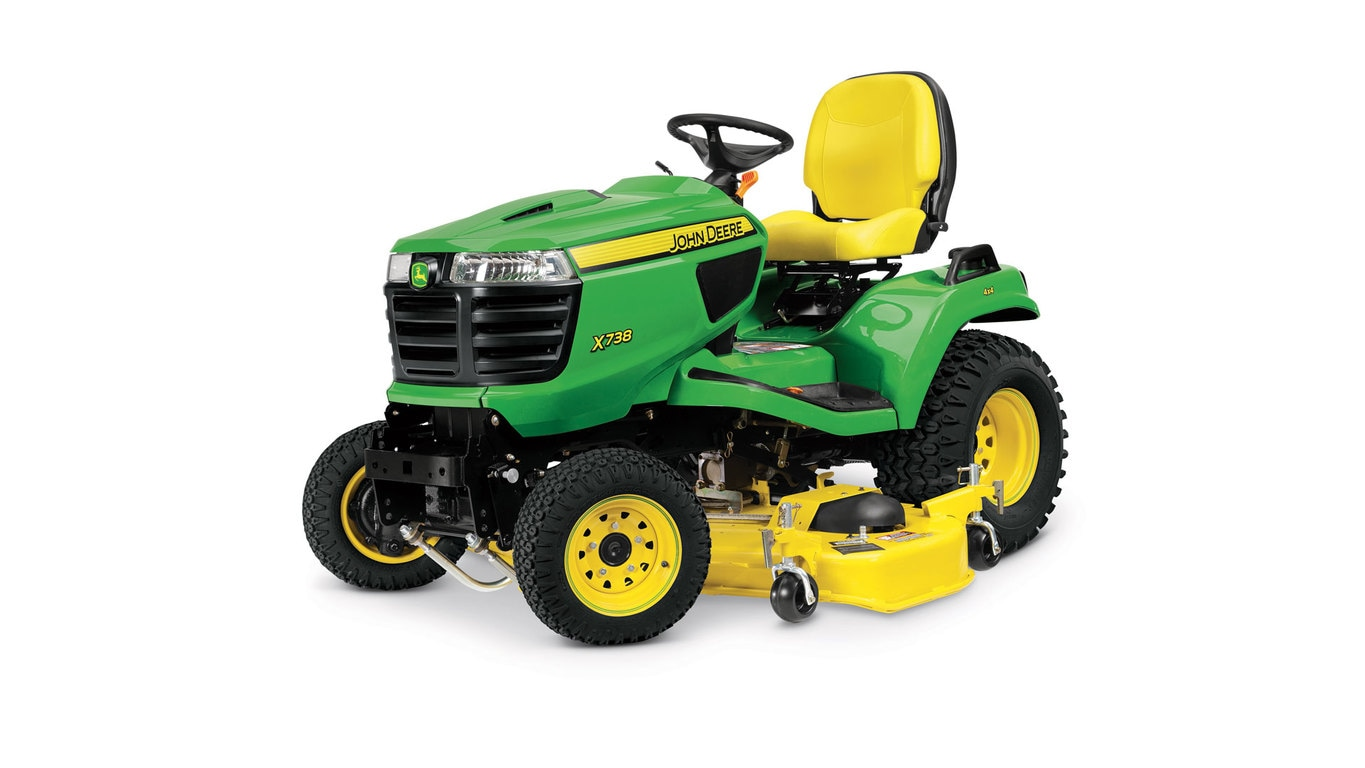 Three-quarter view of x738 lawn tractor