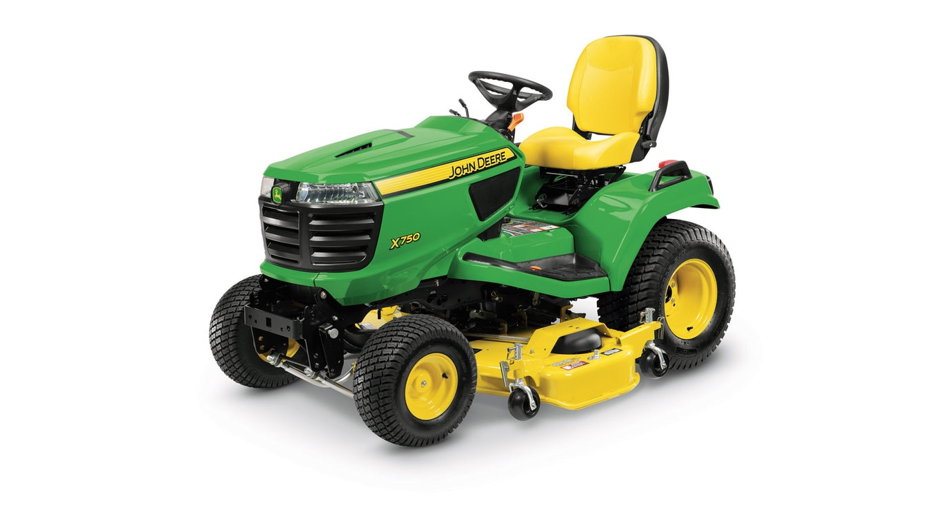 Three-quarter view of x750 lawn tractor